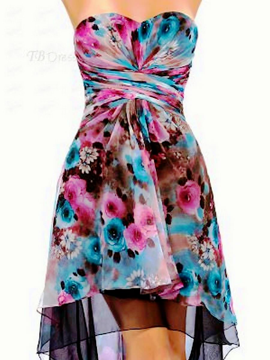 Fabulous Sweetheart Neckline Floral Printing Asymmetry Zipper-Up Cocktail Dress