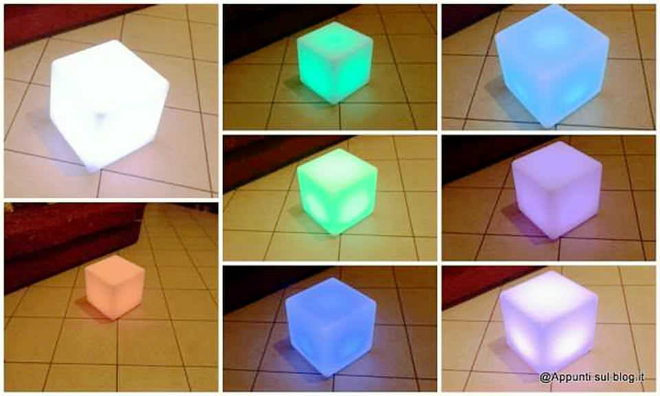 Cubo 16 LED colorati per interior design 1 arredamento