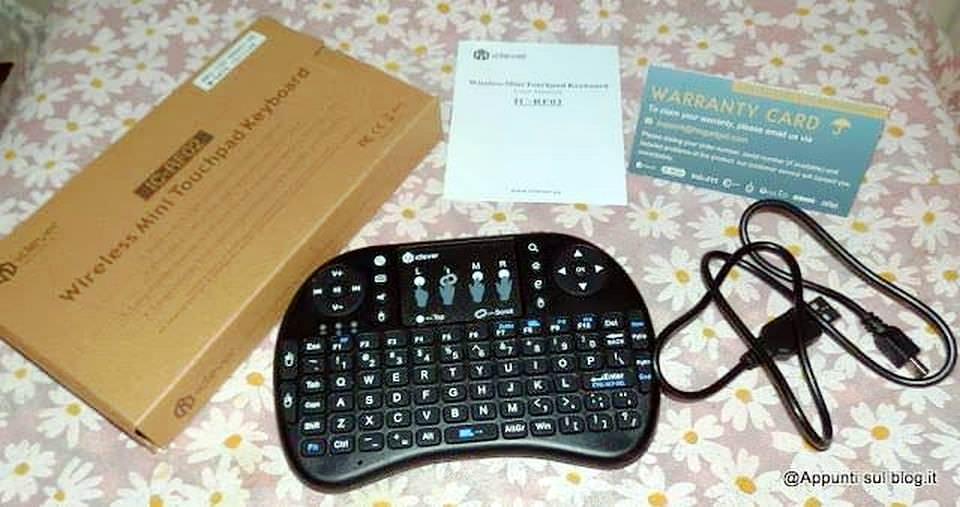 iClever IC-RF02 Mini Tastiera QWERTY 2.4GHz multifunzione