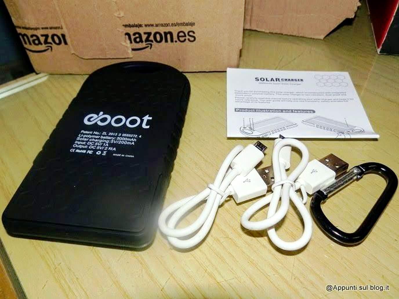 eBoot Tecnologia smart multifunzionale- eBoot 5000mAh Caricabatteria Pannello Solare con 2 porte USB