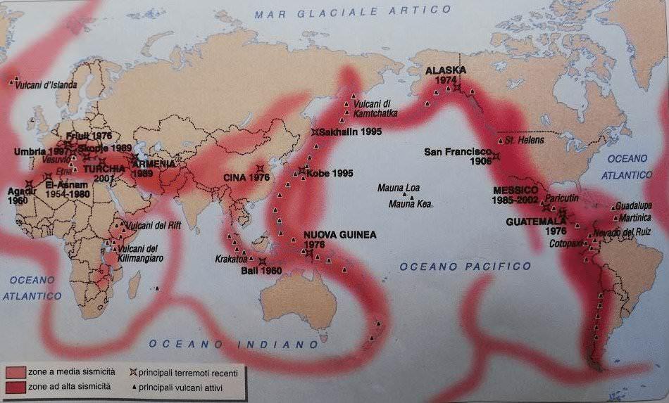 Fenomeni vulcanici e i terremoti